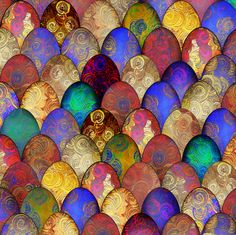 Decorative eggs after Faberge, for Spring, by Su_G fabric by su_g on Spoonflower - custom fabric