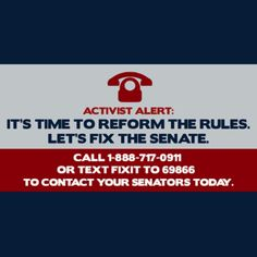 Take action to get filibuster reform.