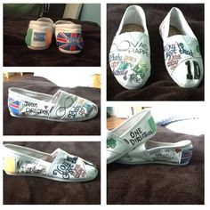 one direction shoes. Just buy white Tom's, get some fun colored sharpies and, shoes. One Direction Crafts, One Direction Shoes, One Direction Collage, One Direction Merch, Sharpie Colors, White Toms, Cool Style, My Style, Musical