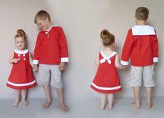 pour les filles une petite robe marine en sergé de coton rouge et blanc. les couleurs sont inversées par rapport à mon modèle original et j'ai ajouté une bande blanche en bas de la robe. pour les garçons une vareuse rouge à col marin.