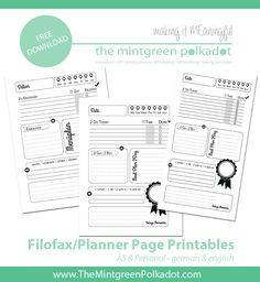 Free Download: Printable Filofax Pages 1 Day on 1 Page for A5 Size http://themintgreenpolkadot.com {in English and German}