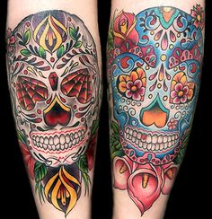 One tattoo design that you may want to consider is the sugar skull tattoo. Sugar skull tattoos are not a main stream tattoo, but they do have a popularity. Sugar skulls are a proud symbol of the Mexican culture. Sugar skull tattoo designs can be. Skull Candy Tattoo, Candy Skulls, Skull Tattoos, Body Art Tattoos, Sugar Skulls, Sleeve Tattoos, Thigh Tattoos, Tatoos, Sugar Skull Design