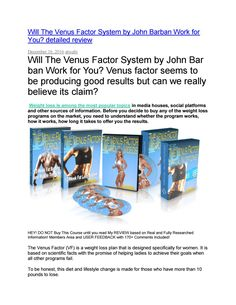 Will the venus factor system by john barban work for you