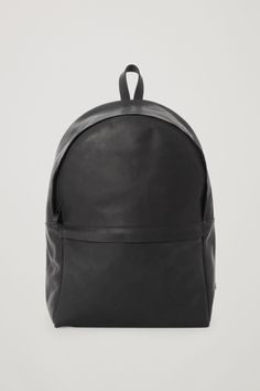 COS image 1 of Rounded leather backpack in Black
