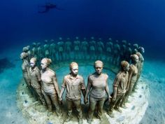 The Canary Islands will soon host Europe's first underwater museum called the Museo Atlantico, Lanzarote Sculpture Museum, Art Sculpture, Sculptures, Art Museum, Jason Decaires Taylor, Underwater Sculpture, Underwater Art, Instalation Art, Creation Art