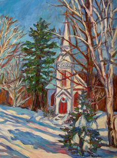 Church Snow Scene Art 12x16 Impressionist Oil painting by