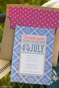 Vintage Fourth of July Party Invitation and Envelope Liner