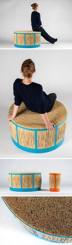 Designer Juan Cappa has created the Straw Stool, available in a large and small size, it's made made from straw, plywood and metal.