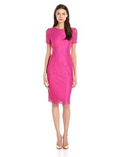 London Times Women's Fun Flower Lace Midi Sheath Pink 10. Knee-length sheath dress in allover flower lace featuring tonal lining and illusion short sleeves with scalloped trim. Crew neckline.