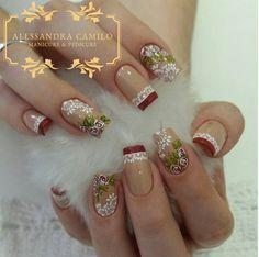 No photo description available. Christmas Nail Designs, Christmas Nail Art, Pretty Nail Designs, Nail Art Designs, Trendy Nails, Cute Nails, Dimond Nails, Hair And Nails, My Nails