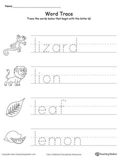 **FREE** Trace Words That Begin With Letter Sound: L Worksheet.Teach the beginning letter sound by tracing and saying the name of the matching picture while providing opportunities for your child to improve their fine motor skills in this printable worksheet.