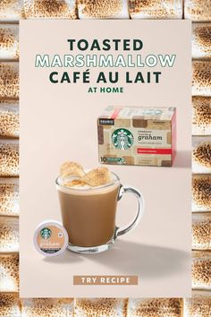 Get s'more summer with sweet and toasty Starbucks Toasted Marshmallow Café Au Lait. Starbucks Recipes, Starbucks Drinks, Coffee Recipes, Coffee Drinks, Coffee Coffee, Yummy Treats, Yummy Food, Smores Cake, Toasted Marshmallow