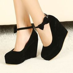 Cute Bow Design Black Wedges want want wanntt