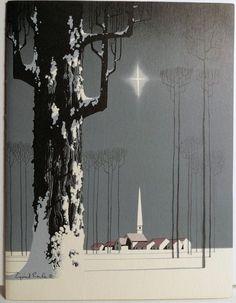 Eyvind Earle illustration, (Earle was one of the major illustrators for… Christmas Art, Vintage Christmas, Christmas Games, Xmas, Eyvind Earle, Memes Arte, Bg Design, Illustrator, Gig Poster