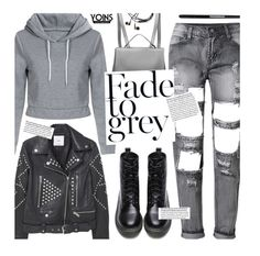 """Yoins Grey Street Style"" by beebeely-look ❤ liked on Polyvore featuring Tweezerman, MANGO, StreetStyle, edgy, patentleather, distresseddenim and yoinscollection"