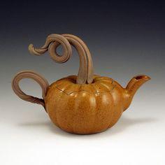 Pumpkin Teapot by baumanstoneware on Etsy, $68.00