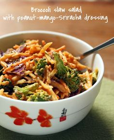 Broccoli slaw salad with peanut-mango-Sriracha dressing: flavor explosion in a bowl.