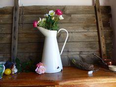French Vintage Enamelware Pitcher, Large White Enamelware Pitcher, White Pitcher, Large White Vase, Farmhouse Decor, Cottage Farmhouse, Vase by BlancVintageEmporium on Etsy