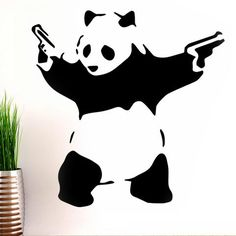 Banksy Panda Gun Wall Decals on white wall!