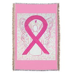 Hot Pink Awareness Ribbon Angel Blanket - The hot pink or magenta awareness ribbon supports awareness for cleft lip, cleft palate, eosinophilic disease/ disorders (alt. is periwinkle), and inflammatory breast cancer.