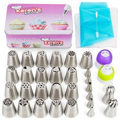 Russian Piping Tips set 57 pcs Cake Decoration Tools Free Chef Apron. 21 Large Russian Tips, Spheres Ball Tips, Icing Piping Set Nozzles, Couplers, Bags and More, The Best Cake Decoration Kit * Find out more about the great product at the image link.