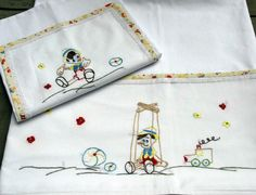 Pinocchio baby linen sheet pillowcase hand by babysdreamfairytales