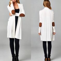 Spotted while shopping on Poshmark: 🇺🇸Ivory Patch Elbow Open Cardigan! #poshmark #fashion #shopping #style #Sweaters