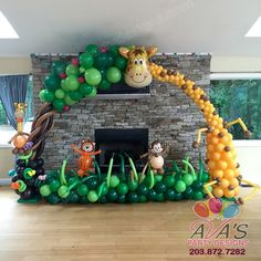This Safari First Birthday Party is packed with lots of ideas including tutorials for a Jungle Birthday Cake and african safari jungle Party Favours. Jungle Theme Birthday, Jungle Theme Parties, Safari Theme Party, Safari Birthday Party, Baby Party, Jungle Theme Cakes, Birthday Ideas, Jungle Party Decorations, Balloon Decorations