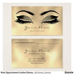 Next Appointment Lashes Extension Glitter Gold Business Card