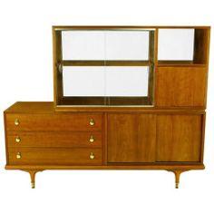 Renzo Rutili Walnut Double-Sided Cabinet