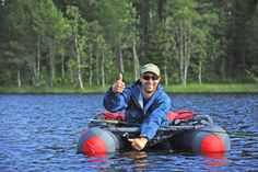 Belly boat in Swedish Lapland