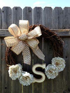 Summer or Spring Monogram Wreath with Burlap Polka