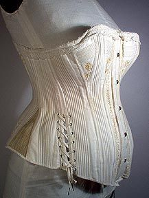 "Maternity corset!!! See how the front panels can be let out? Pregnant women could and did wear corsets for much of the pregnancy - if nothing else, the ""girls"" needed quite a lot of support as they grew bigger. And it would be possible to let out the middle while keeping the bottom tighter to come up under the belly for support. Most of the seams in this one are corded (threaded with cords) rather than stiff steels - softer, more flexible. A corset gives good back support as well."