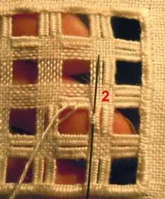 pontos de hardanger. divided woven bars