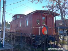 Vintage train caboose located in the center of downtown Colfax, California.