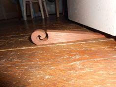 handmade carved swirl doorstop reclaimed mahogany salvaged