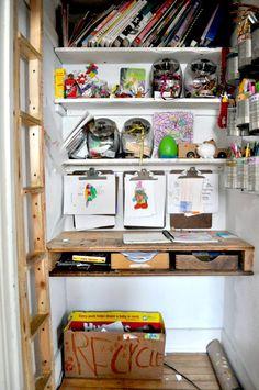 kids' closet made into mini art studio - elsie marley.