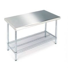 stainless steel kitchen island - add more shelves and a butcher block top...