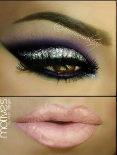 Eyeshadow Inspiration for Brown Eyes: Purple Sultry Shimmer Eyes.