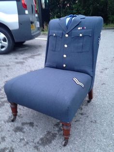Vintage Royal Air Force uniform chair with by RescuedRetroVintage