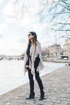 Collage_Vintage_Outfit-Maje_Exclusive-Poncho-Striped-Black-Celine_Boots-Street_Style-PFW-5