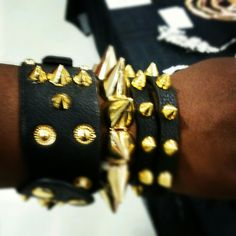 spike leather metal armcandy bracelets