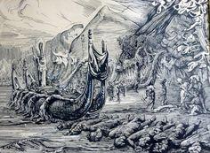 """A.H.Gouwe ,1952, pentekening, voorstudie voor het schilderij """"Pelerinage a Opoa"""""""