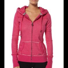 Lorna Jane Glam Hoodie - XS Lorna Jane slim zip through hoodie with JL metal hardware, quilted front and back yoke panels and hood lining (with internal draw cord). Rib sleeve cuffs & hemline. Barely worn. Colour: Cerise Marle (pink) NOTE: price reduced from original posting as have since noticed a couple of little flaws on the inside of the hood - see updated last picture. Not noticeable when wearing. Lorna Jane Tops Sweatshirts & Hoodies