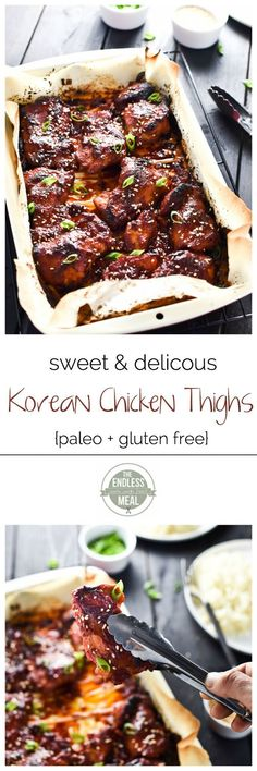 Sweet Korean Paleo Chicken Thighs with Cauliflower Rice | A super easy to make and incredibly delicious paleo meal your whole family will love!