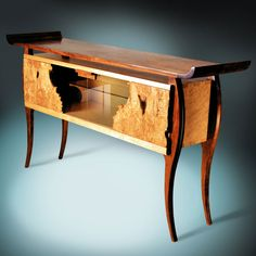 Buffet with natural edge burl sides in modern Asian style