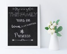 Kitchen print - monochrome printable -gift for her - Digital print download - chalkboard printable - Prosecco gift - Prosecco print by SleepyOwlCraftHouse on Etsy