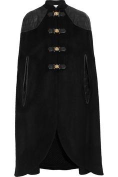 Temperley LondonAvalon leather-trimmed wool-blend cape