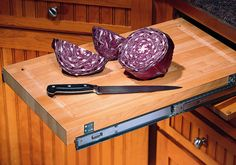 Roll-out Chopping Block (cutting board) - DeWils Custom Cabinetry - Planning Center - Accessories - Organization Kitchen And Bath, New Kitchen, Kitchen Ideas, Kitchen Design, Custom Kitchen Cabinets, Custom Cabinetry, Planning Center, River Trail, Small Cabinet