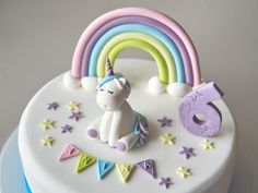 Unicorn and Rainbow Pastel Fondant Cake Topper, Unicorn Birthday Cake Topper, Age Number, Banner Letters, 3D Cake Topper, Personalized Birthday Cake Girls, Birthday Cake Toppers, Unicorn Birthday, Rainbow Birthday, Frozen Fondant, Rainbow Pastel, Baby Girl Cakes, Fondant Cake Toppers, Banner Letters